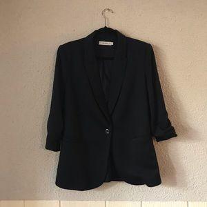 Rickis Ruched Sleeve Blazer Navy Blue Size Large